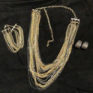Metallic necklace, bracelet and earrings